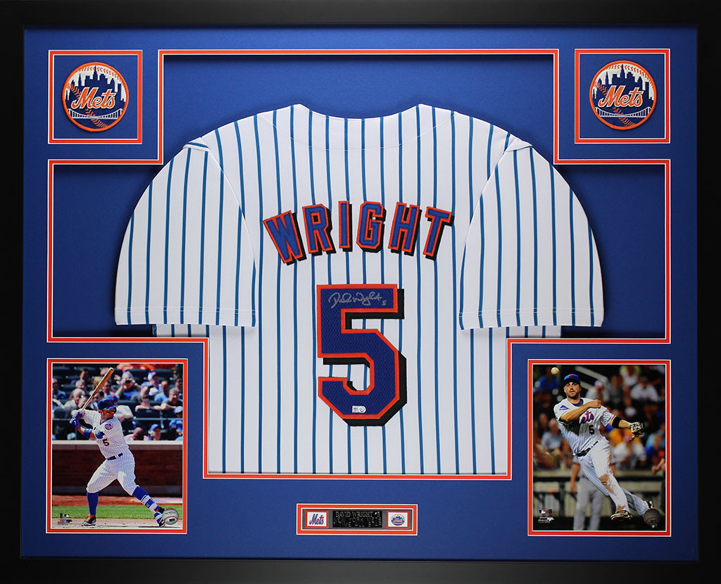 the best attitude 46d37 3faa2 David Wright Autographed and Framed Pinstriped Mets Jersey