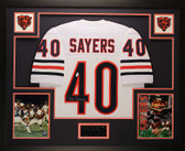 Gale Sayers Autographed and Framed White Chicago Bears Jersey JSA COA