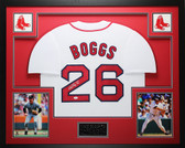 Wade Boggs Autographed HOF 05 and Framed White Boston Red Sox Jersey Auto JSA COA