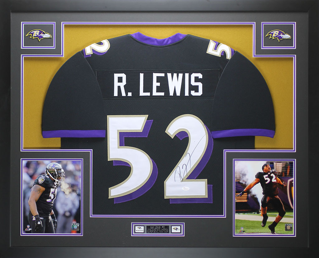 Ray Lewis Autographed and Framed Black Ravens Jersey