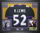 Ray Lewis Autographed and Framed Black Baltimore Ravens Jersey Auto JSA Certified