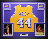 Jerry West Autographed and Framed Gold Los Angeles Lakers Jersey Auto JSA COA