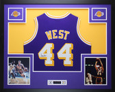 Jerry West Autographed and Framed Purple Los Angeles Lakers Jersey Auto JSA COA