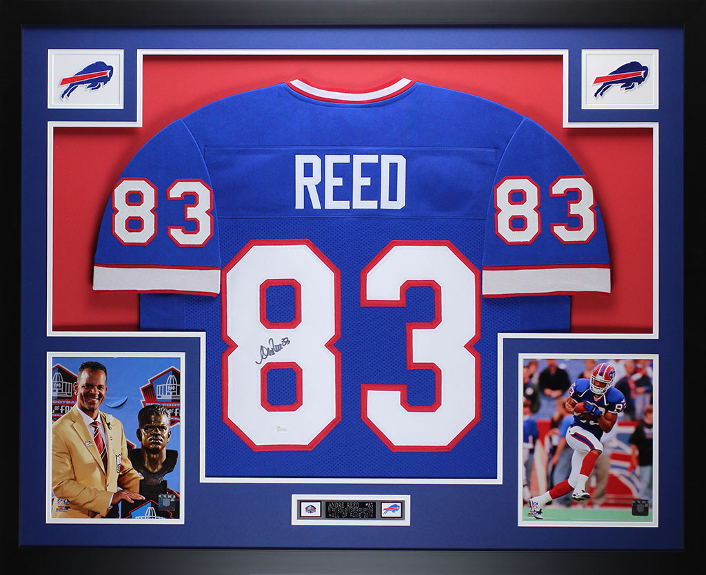 Andre Reed Autographed and Framed Blue Bills Jersey