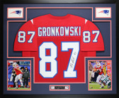 Rob Gronkowski Autographed and Framed Red New England Patriots Jersey Auto JSA COA