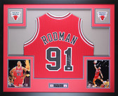 Dennis Rodman Autographed Framed Red Chicago Chicago Bulls Jersey Auto PSA COA