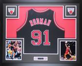 Dennis Rodman Autographed Framed Black Chicago Chicago Bulls Jersey Auto JSA COA