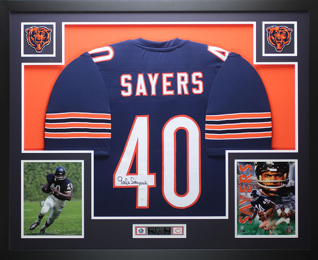 Gale Sayers Autographed And Framed Blue Chicago Bears Jersey