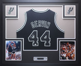 George Gervin Autographed and Framed Black San Antonio Spurs Jersey JSA COA