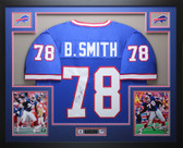 Bruce Smith Autographed and Framed Blue Bills Jersey Auto JSA COA