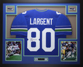 Steve Largent Autographed and Framed Blue Seattle Seahawks Jersey Auto JSA COA