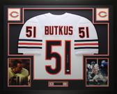 Dick Butkus Autographed and Framed White Bears Jersey Auto JSA COA