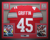 Archie Griffin Autographed HT 1974/75 & Framed Red Ohio State Buckeyes Jersey PSA COA