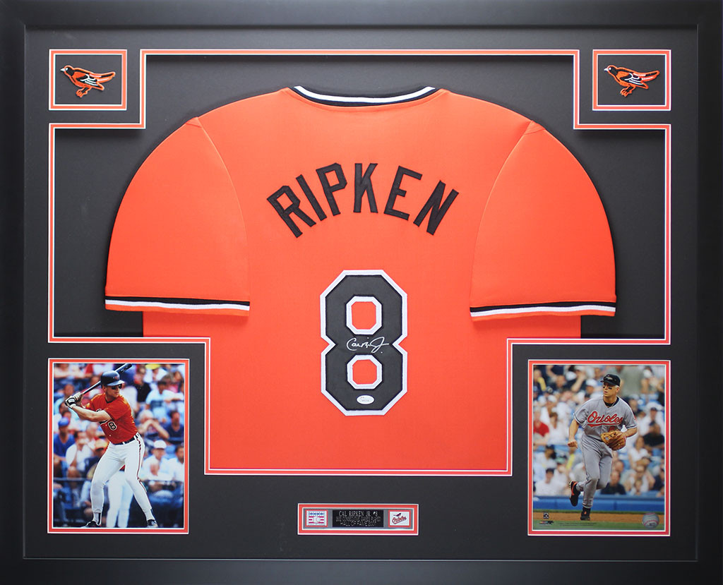 wholesale dealer 54881 1e41e Cal Ripken Autographed and Framed Orange Orioles Jersey
