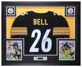 Leveon Bell Autographed & Framed Black Pittsburgh Steelers Jersey Auto JSA COA