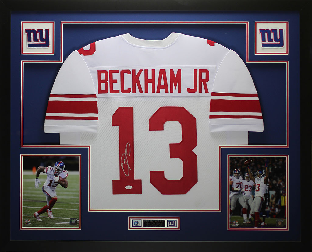 Odell Beckham Jr Autographed and Framed White New York Giants Jersey Auto  JSA COA. Loading zoom cfa3e8c56