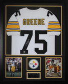 Joe Greene Autographed HOF 87 and Framed White Pittsburgh Steelers Jersey JSA COA