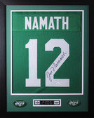 Joe Namath Framed and Autographed Green New York Jets Jersey Auto JSA COA