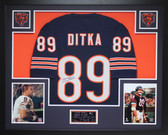 Mike Ditka Autographed and Framed Navy Chicago Bears Jersey Auto JSA COA