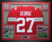 Eddie George Autographed & Framed Red Ohio State Buckeyes Jersey JSA COA