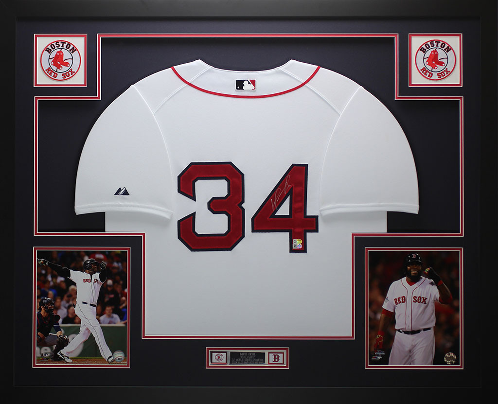 516084c11 David Ortiz Autographed   Framed White Boston Red Sox Jersey Auto Fanatics  COA. Loading zoom