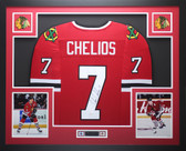 Chris Chelios Autographed and Framed Red Chicago Blackhawks Jersey Auto JSA COA