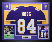 Randy Moss Autographed and Framed Purple Minnesota Vikings Jersey Auto JSA COA