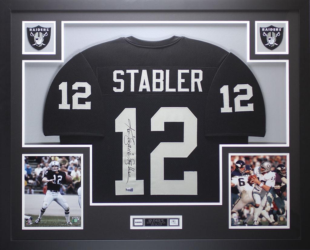 quality design e4284 6d054 Ken Stabler Autographed and Framed Black Raiders Jersey