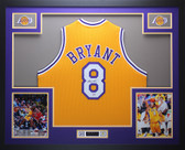 Kobe Bryant Autographed and Framed Gold Lakers #8 Jersey Auto PSA COA D13-L