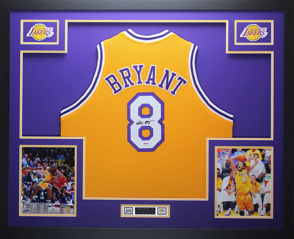 bfee36a3c1e7 Kobe Bryant Autographed and Framed Gold Lakers  8 Jersey Auto PSA COA  D14-L. Loading zoom