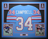 Earl Campbell Autographed HOF 91 and Framed Blue Houston Oilers Jersey Auto JSA COA
