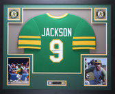 Reggie Jackson Framed and Autographed Green Oakland A's Jersey JSA COA