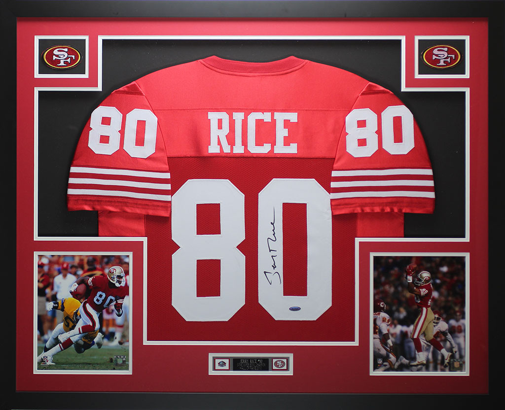 lowest price aa18b bf3dd Jerry Rice Autographed and Framed Red 49ers Jersey