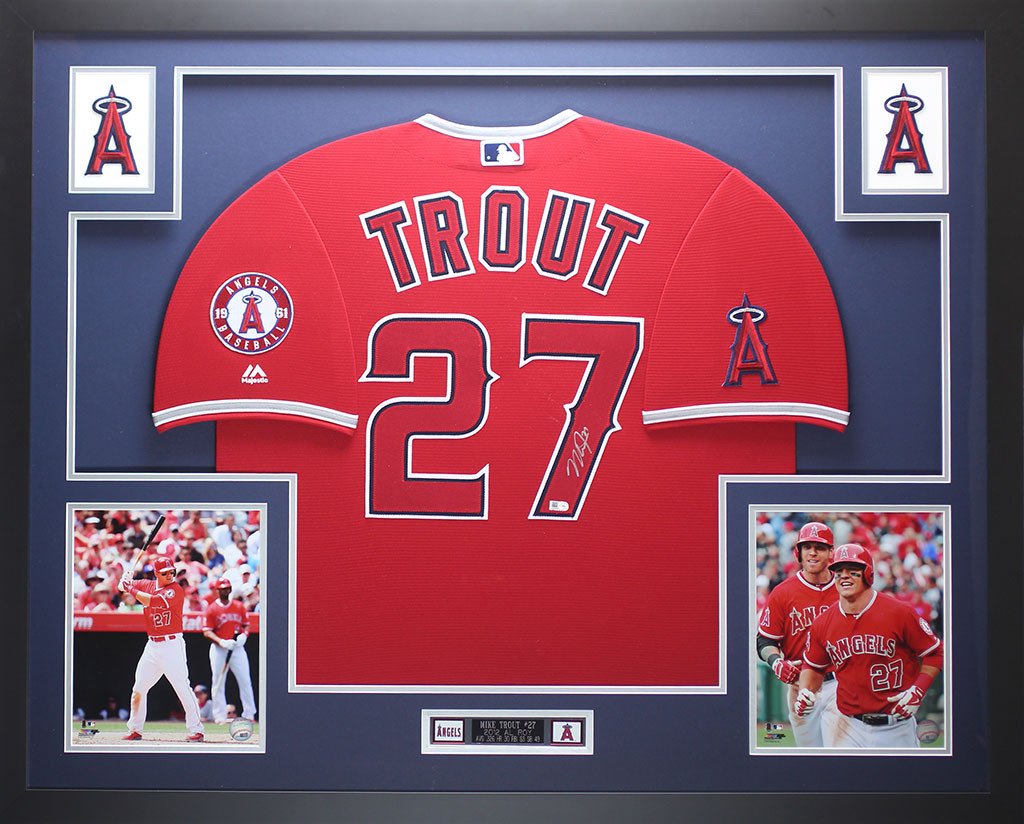 the best attitude c44cf fcd67 Mike Trout Autographed and Framed Red Angels Jersey