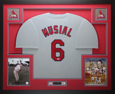 Stan Musial Autographed and Framed Gray St. Louis Cardinals Jersey Auto PSA COA