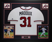 Greg Maddux Autographed and Framed White Atlanta Braves Jersey Auto Tristar COA