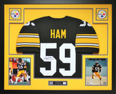 Jack Ham Autographed HOF 88 and Framed Black Pittsburgh Steelers Jersey Auto JSA Cert