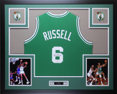 Bill Russell Autographed and Framed Green Boston Celtics Jersey Auto PSA COA