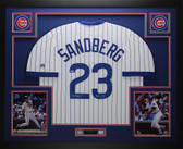 Ryne Sandberg Autographed and Framed Pinstriped Chicago Cubs Jersey Auto Tristar COA