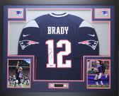 Tom Brady Autographed & Framed Blue Patriots Nike Jersey Tristar COA
