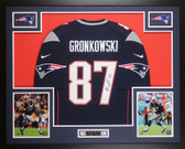 Rob Gronkowski Autographed & Framed Navy New England Patriots Jersey Auto Steiner COA