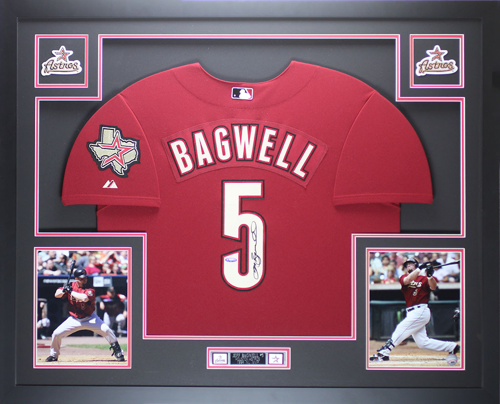 watch fe8c2 6cdf2 Jeff Bagwell Autographed and Framed Brick Red Astros Jersey