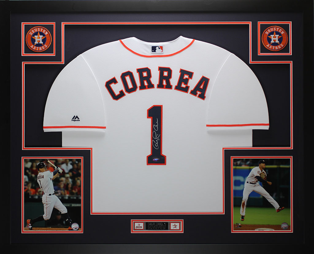 release date: 6362f a3b84 Carlos Correa Autographed and Framed White Astros Jersey