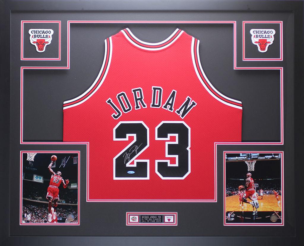 61783f69d22 Michael Jordan Autographed & Framed Red Chicago Bulls Jersey Auto Upper Deck  COA. Loading zoom