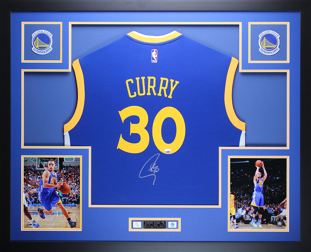 separation shoes 2b865 84237 Stephen Curry Autographed and Framed Blue Warriors Jersey