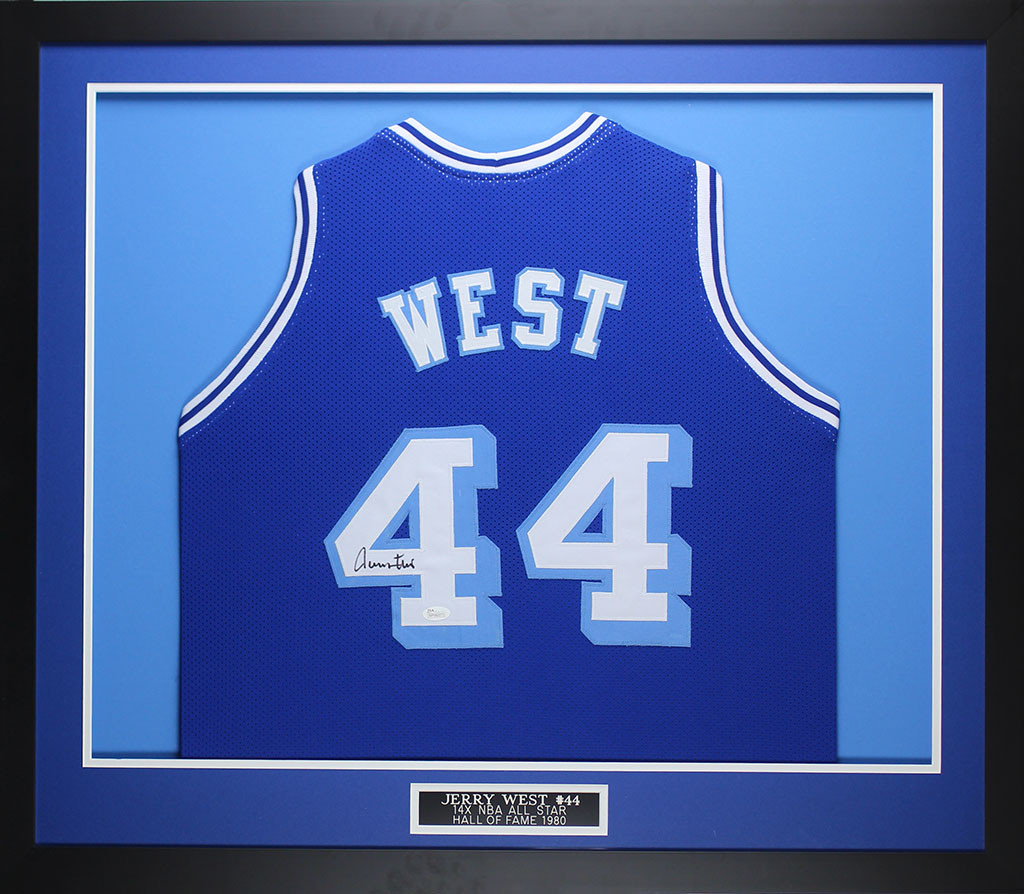Jerry West Autographed & Framed Blue Throwback Lakers Jersey