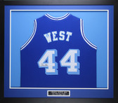 Jerry West Autographed & Framed Blue Throwback Los Angeles Lakers Jersey Auto JSA COA