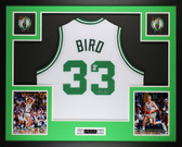 Larry Bird Autographed and Framed White Boston Celtics Jersey Auto PSA COA