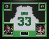 Larry Bird Autographed and Framed White Boston Celtics Jersey Auto PSA Certified