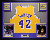 James Worthy Autographed and Framed Gold Los Angeles Lakers Jersey JSA COA